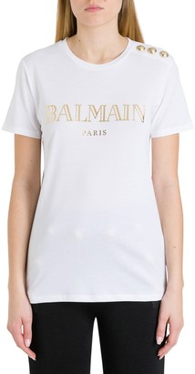 Balmain Logo Tee With Embossed Buttons