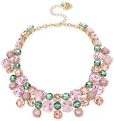 Betsey Johnson Gold-Tone Pink and Green Crystal Cluster Choker Necklace
