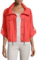 Peserico Button-Front Cropped Rain Jacket, Coral
