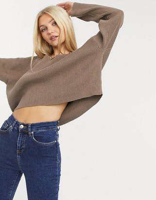 SNDYS cece knit top in chocolate brown