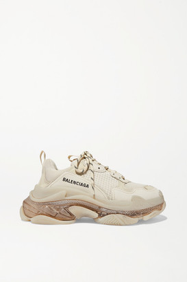 Balenciaga Triple S Clear Sole Logo-embroidered Leather, Nubuck And Mesh Sneakers - Cream