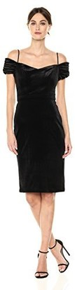 Nicole Miller Women's Cold Shoulder Stretch Velvet Cocktail Dress