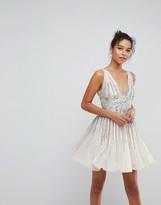 Asos Design Sparkle Embellished Skater Mini Dress