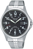 Pulsar Traditional Mens Stainless Steel Solar Expansion Strap Watch PX3069