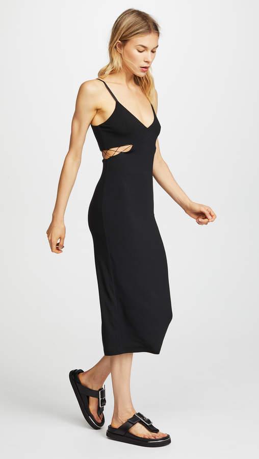 Alexander Wang Stretch Jersey Crisscross Cutout Fitted Dress