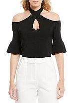 Lucy Paris Cold-Shoulder Belle Sleeve Knit Top