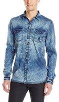 Buffalo David Bitton Men's Satum Long Sleeve Light Denim Woven Shirt