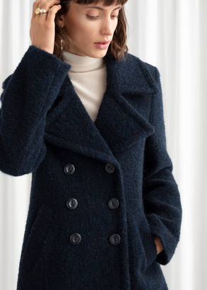 And other stories Double Breasted Wool Blend Boucle Coat