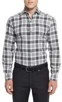 Ermenegildo Zegna Large-Check Long-Sleeve Sport Shirt, Gray