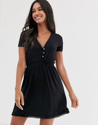 Stradivarius button front shirred waist dress in black