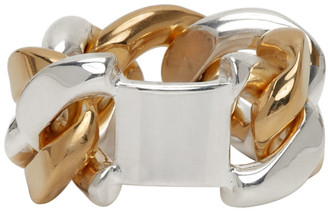 Bottega Veneta Silver and Gold Chain Ring