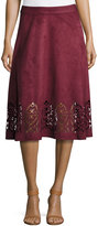 Neiman Marcus Faux-Suede Flared Midi Laser-Cut Skirt, Purple Wine