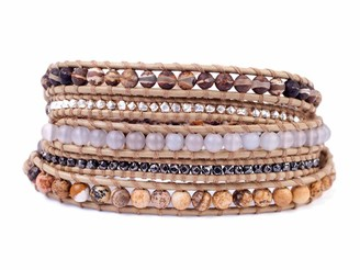 Chan Luu Brown Mix Mineral Stone with Silvertone Nugget Brown Leather Wrap Bracelet