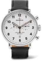 Shinola The Canfield Chronograph 43mm Stainless Steel and Leather Watch