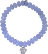 Sydney Evan Diamond Dog Paw Light Blue Chalcedony Beaded Bracelet
