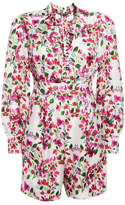 Seren London Ruffle-trimmed Floral-print Silk-twill Playsuit