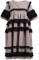 Molly Goddard Elodie Ruffled Gingham-cotton Midi Dress - Womens - Brown