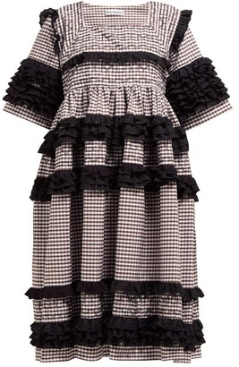Molly Goddard Elodie Ruffled Gingham-cotton Midi Dress - Womens - Brown