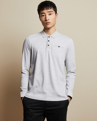 Ted Baker Cotton Long Sleeved Polo Top