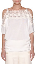 Agnona Off-Shoulder Knit Lace Top, White