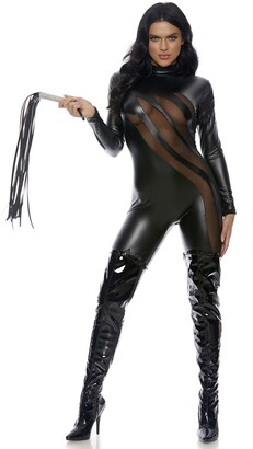Forplay Women's Faux Leather Mock Neck Catsuit with Mesh Insets