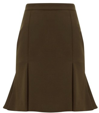 Alexander McQueen Pleated-hem Wool-blend Mini Skirt - Khaki