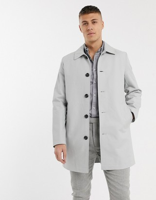 Asos DESIGN single breasted trench coat in gray