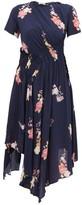 Preen Line Verna Floral-print Crepe De Chine Midi Dress - Womens - Navy Multi