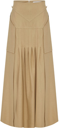 CHRISTOPHER ESBER Varsha Pleated Cotton-Blend Poplin Midi Skirt