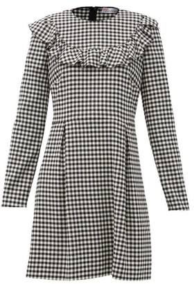 RED Valentino Gingham-check Jersey Mini Dress - White Black