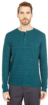 Lucky Brand Snow Heather Thermal Tee (Black Iris) Men's Clothing