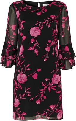 Wallis PETITE Pink Floral Flute Sleeve Shift Dress