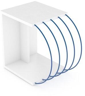 Orren Ellis Woden C Table End Table Table Top Color: White, Table Base Color: Blue