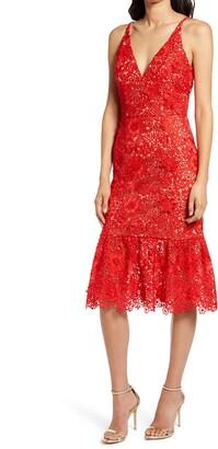 Dress the Population Astrid Sleeveless Crochet Lace Dress