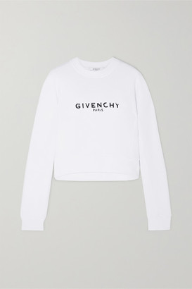 Givenchy Cropped Printed Cotton-jersey Sweatshirt - White