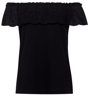 Dorothy Perkins Womens Black Broderie Tier Bardot Top, Black