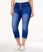 Rampage Trendy Plus Size Cropped Maiden Wash Skinny Jeans