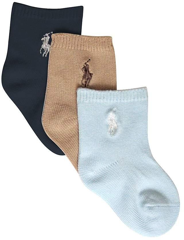 Ralph Lauren Boys' Crew Socks, 3 pack - Baby