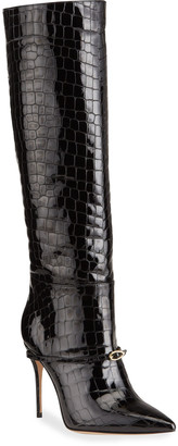 Jennifer Chamandi Cece Mock-Croc Patent Over-The-Knee Boots