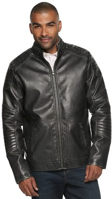 X-Ray Men's XRAY Slim-Fit Washed Faux-Leather Moto Jacket
