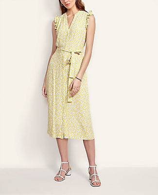 Ann Taylor Floral Flutter Sleeve Shirtdress