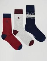 Jack Wills Fairisle Socks In 3 Pack