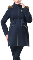 Navy Amelia Wool-Blend Maternity Parka Coat