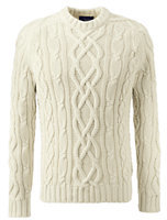 Lands' End Men's Drifter Aran Cable Crewneck-Tree Root Tattersall