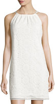 Max Studio Sleeveless Lace Shift Dress W/Ribbon Tie
