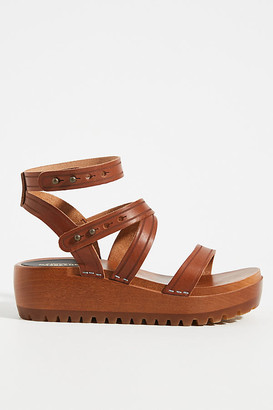 Swedish Hasbeens Jess Platform Sandals By in Brown Size 36