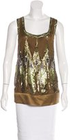 Philosophy di Alberta Ferretti Embellished Silk Top