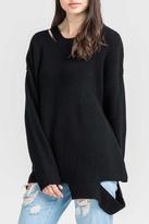 Lush Clothing Black Slashed Sweater
