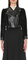 Alexander McQueen Contrast leather and shearling biker jacket