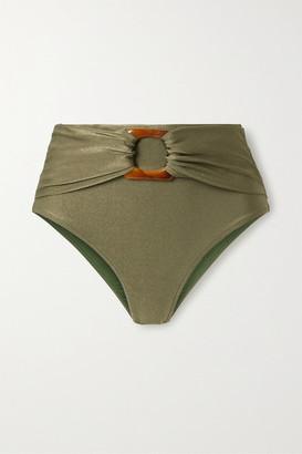 PatBO Embellished Metallic Bikini Briefs - Army green